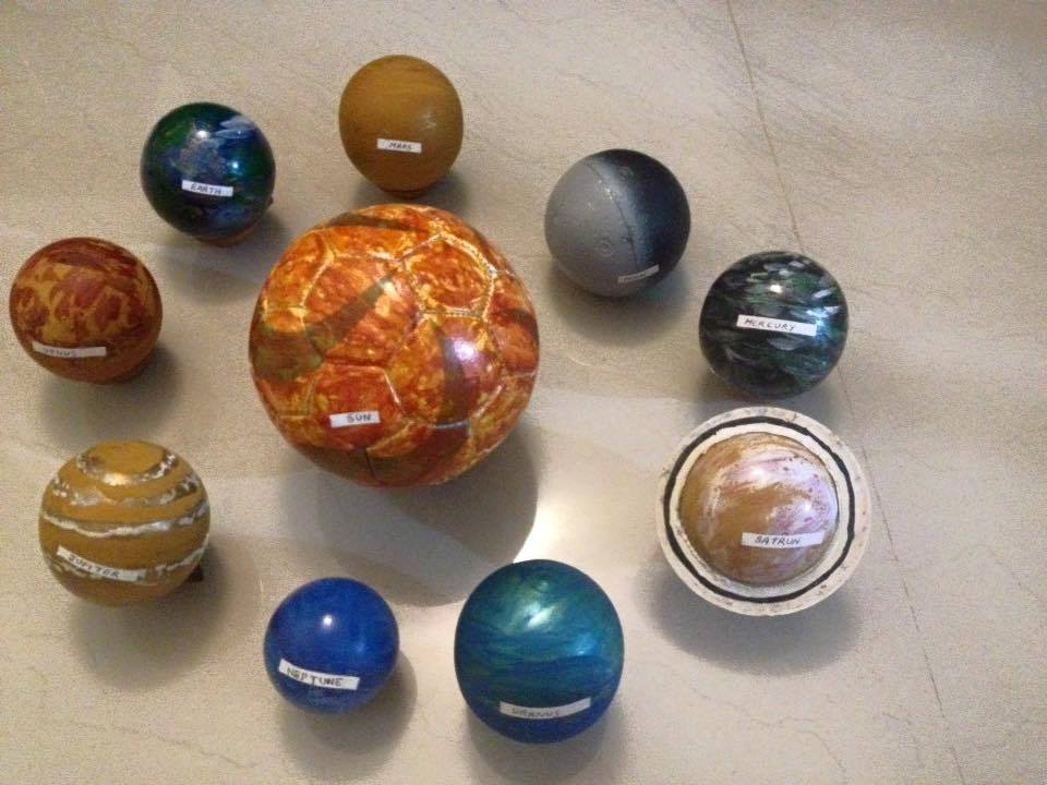 Home Made Solar System With Plastic Balls And Colours